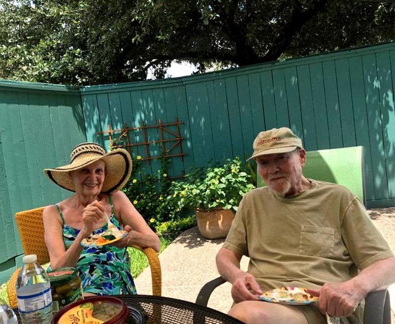 Rennie & Daniel Quinn on the patio at their home in Houston, TX
